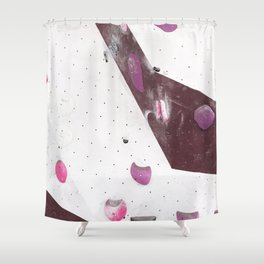 Geometric abstract free climbing bouldering holds pink purple Shower Curtain