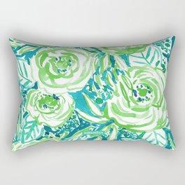 PHUNKY PHRESH Green Aqua Floral Rectangular Pillow