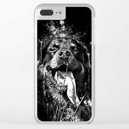 rottweiler dog long tongue wsbw Clear iPhone Case