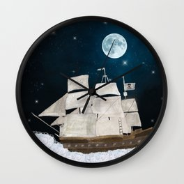 the pirate ghost ship Wall Clock