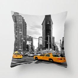 NYC - Yellow Cabs - FlatIron Throw Pillow