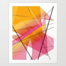 Cranberry Orange Geometric Abstract Art Art Print