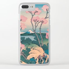 Spring Picnic under Cherry Tree Flowers, with Mount Fuji background Clear iPhone Case
