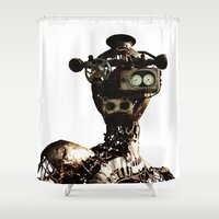 robot Shower Curtains featuring robot by Кaterina Кalinich