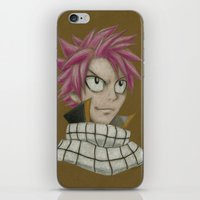 fairy tail iPhone & iPod Skins featuring Natsu - Fairy Tail by Kelly Katastrophe
