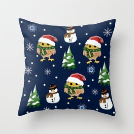 Cute Xmas pattern design with owls and snowmen Throw Pillow