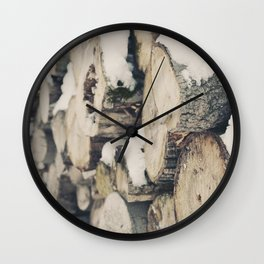 Logs snow Wall Clock