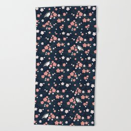 Navy blue cherry blossom finch Beach Towel