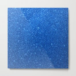 Midnight Sky Sparkly Blue Glitter Metal Print