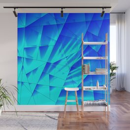 Bright sunshine on celestial and blue triangles of irregular shape. Wall Mural