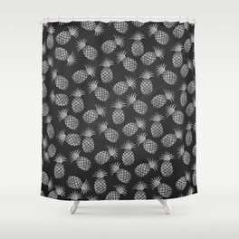 Tropical modern black gray pineapple fruit pattern Shower Curtain