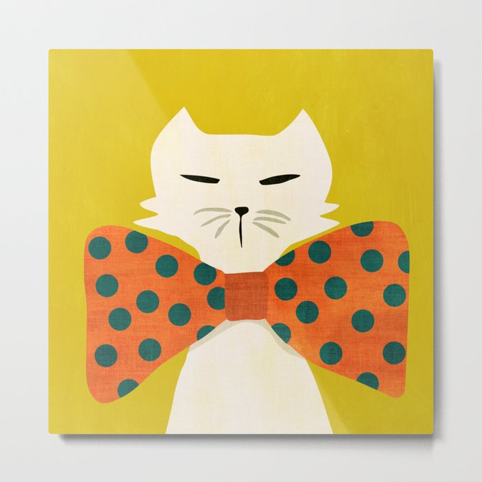 Cat with incredebly oversized humongous bowtie Metal Print
