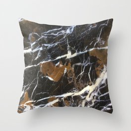 Stylish Polished Black Marble Throw Pillow