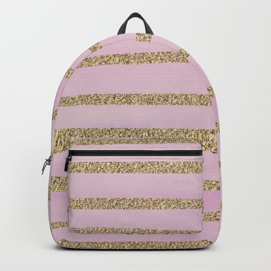 Soft Pink and Gold faux Glitter Stripes Backpack