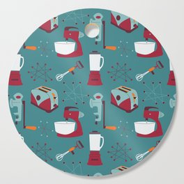 Retro Kitchen - Teal and Raspberry Cutting Board