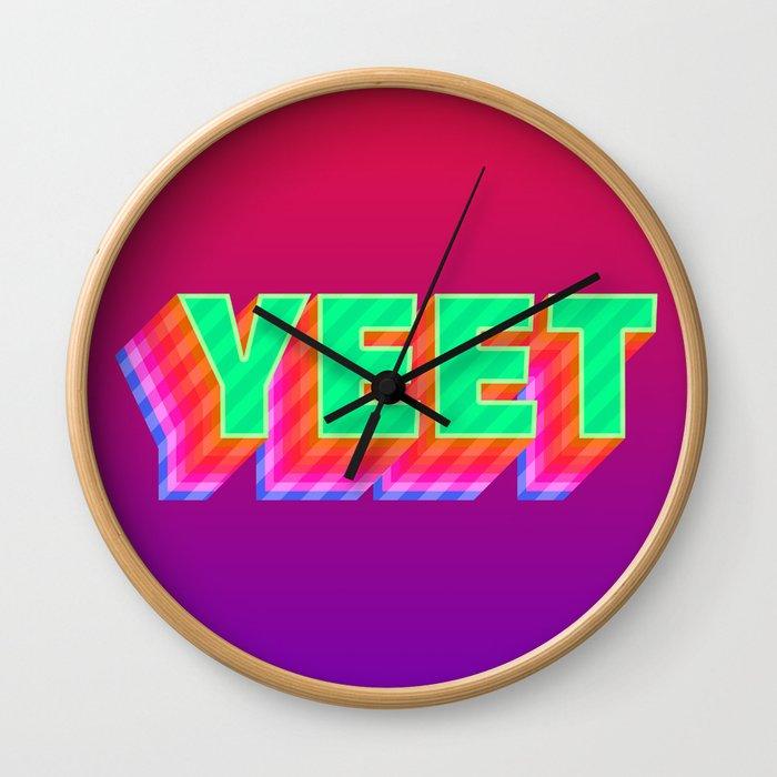 YEET Meme Colorful Typography Wall Clock