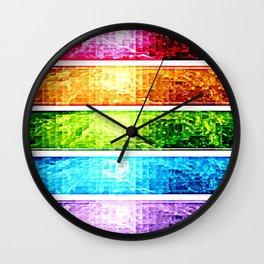 Rainbow Nebula Pixels Panel Art Wall Clock