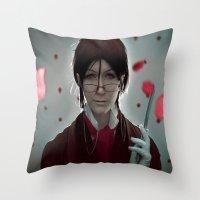 kuroshitsuji Throw Pillows featuring Sebastian Michaelis (Test submission) by Lalasosu2