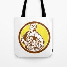 Female Organic Farmer Basket Harvest Retro Tote Bag
