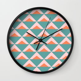 Colorful Triangle Pattern in Teal, Pink, and Orange Wall Clock