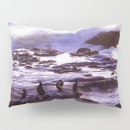 Cormorant Rock in the Waves by Reay of Light Pillow Sham