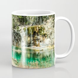 Natures Eternal Beauty // Long Exposure Waterfall and Teal Water Pond in the High Forest Coffee Mug