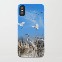 White Egrets in a Morning 1 iPhone Case