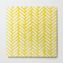 Painted Herringbone Stripe \\ Sunshine Yellow Metal Print