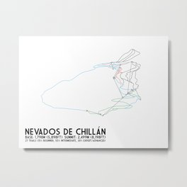Nevados de Chillan - Chillán, Chile - Minimalist Winter Trail Art Metal Print