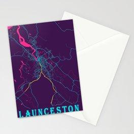 Launceston Neon City Map, Launceston Minimalist City Map Art Print Stationery Cards