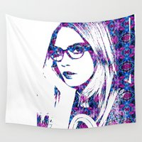 cara Wall Tapestries featuring Cara in the city by fashionistheonlycure