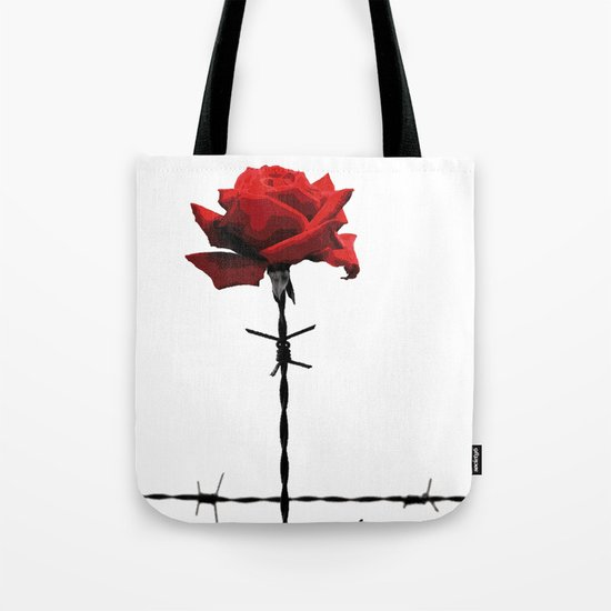 Barbed wire red rose Tote Bag