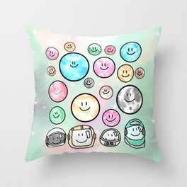 Spacemen illustrated mixed media art. Cute moons with smiley faces. Throw Pillow