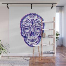 Sugar Skull (Calavera) Chromatic Aberration - Cyan Magenta Wall Mural