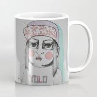 yolo Mugs featuring Yolo  by Agnes Emilia