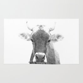 Cow black and white animal portrait Rug