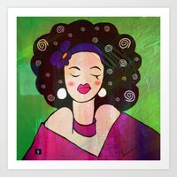 geisha Art Prints featuring GEISHA by SAMHAIN