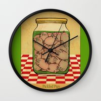 clueless Wall Clocks featuring Pickled Pig Revisited by Megs stuff...