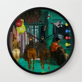 BLUE, YELLOW, RED, LICE I Wall Clock