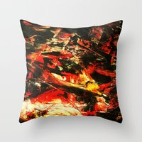 camp Throw Pillows featuring Camp Fire by James Peart