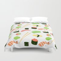 nori Duvet Covers featuring sushi time! by Space Bat designs