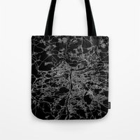 prague Tote Bags featuring Prague by Line Line Lines