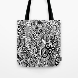 Mushy Madness doodle art Black and White Tote Bag