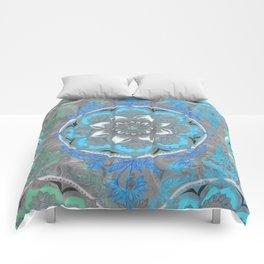 Mint Green, Blue & Aqua Super Boho Medallions Comforters
