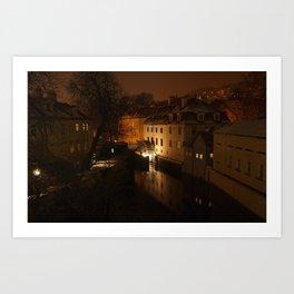 Watermill through the night Art Print
