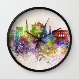 Exeter skyline in watercolor background Wall Clock