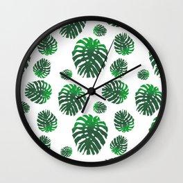 Monstera Deliciosa pattern Wall Clock