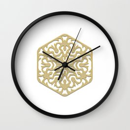 pattern, ornament, decor, mandala, golden, gold decor, gold, jewelry, element, postcard, christmas Wall Clock