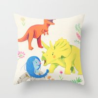 dinosaurs Throw Pillows featuring Dinosaurs by Maria Garcia