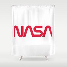 NASA worm logo Shower Curtain
